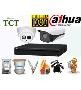 Lắp đặt camera giám sát trọn bộ 2 camera Dahua 2.0MP giá rẻ