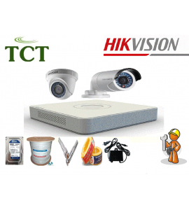 Lắp đặt trọn gói 3 camera quan sát Hikvision HD-TVI 720P