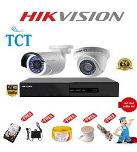 Lắp đặt camera giám sát trọn bộ 2 camera hikvision 1MP giá rẻ