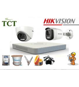 Giá lắp đặt trọn bộ 5 camera Hikvision HD-TVI Có màu 2.0MP