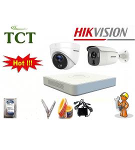 Lắp đặt trọn bộ 2 camera hikvision STARLIGHT chống trộm