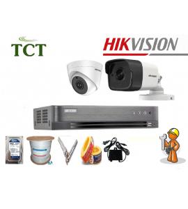 Lắp đặt trọn bộ 3 camera Hikvision 5.0MP giá rẻ chính hãng